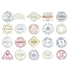 Colorful Postal Stamps Set vector image