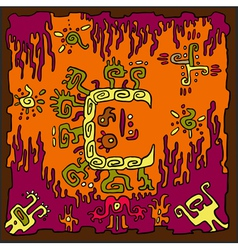 Ethnic Abstract Orange Background vector image