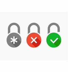icons set combination lock vector image