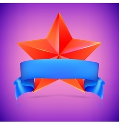 Red star with ribbon vector image vector image