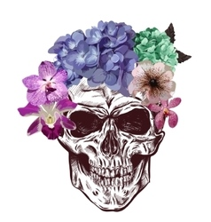 Skull And Flowers Sketch With gradation Effect vector image