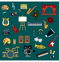 Art music cinema and theater icons vector image