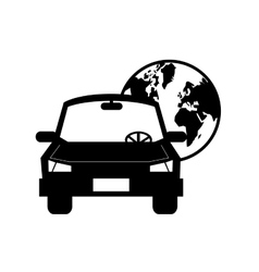 car and earth globe icon vector image