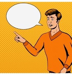 Comic strip man talks with sad face vector image vector image