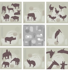 large set ofAfrican animals and abstract seamless vector image vector image