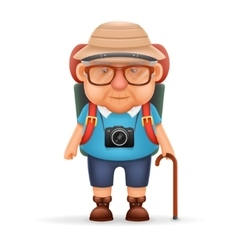 Old Backpacker Man Grandfather Photo Camera 3d vector image