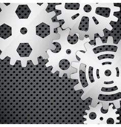 Abstract background with gears on circular grid vector image vector image