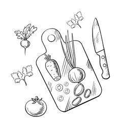 Cooking process of healthy vegetarian salad vector image vector image
