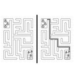 Easy bees maze vector image vector image