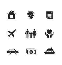 insurance icons with hands vector image