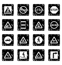 Road Sign Set set icons grunge style vector image