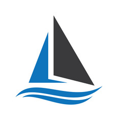 sailing ship and yacht logo design vector image vector image