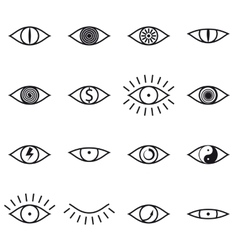 Set of Various Eye Icons on White Background vector image vector image