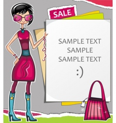 young woman with message board vector image vector image