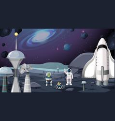 Alien and astronaut scene vector