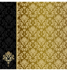 Background with gold flowers and leaves vector