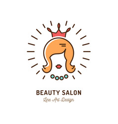 beauty salon icon queen beauty logo hairdressing vector image