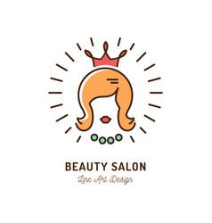 Beauty salon icon queen logo hairdressing vector