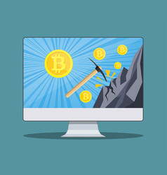 bitcoin mining concept with monitor vector image