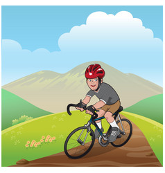 Boy riding a mountain bike vector