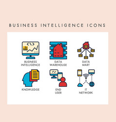 business intelligence icons vector image