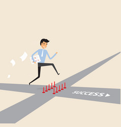Businessman walking on the street of success vector