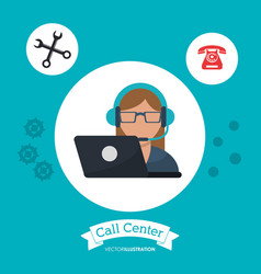 call center woman receptionist support laptop vector image