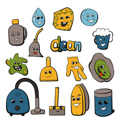 Cartoon objects for clean up vector