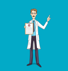 Caucasian doctor in white coat with medical vector