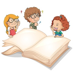 Children and giant book vector