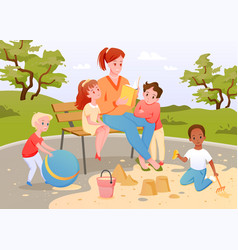 children and teacher read book together boy girl vector image