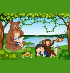children with wild animals scene vector image
