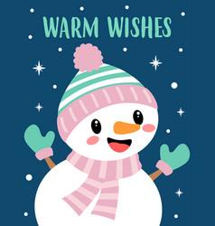 christmas card with cute cartoon snowman vector image