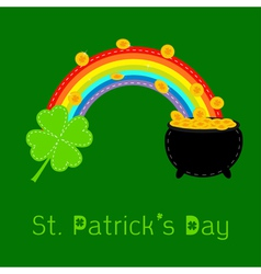 Clover rainbow and pot with coins St Patricks day vector