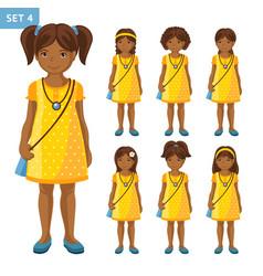 Collection cute african little girls vector