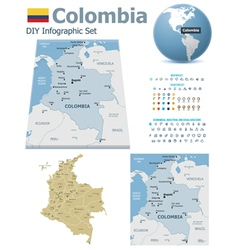 Colombia maps with markers vector image