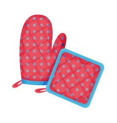 Cooking glove or oven mitt and textile potholder vector