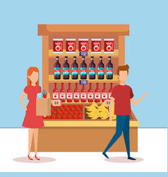Couple in supermarket shelving with products vector