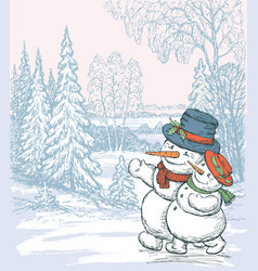 couple of the happy snowmen in the winter forest vector image