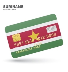 Credit card with Suriname flag background for bank vector