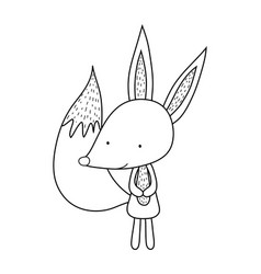 Cute and little fox character vector