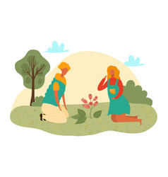 cute girl planting flowers flat vector image