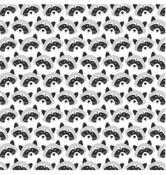 cute raccoons woodland pattern background vector image