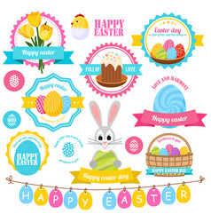 easter colorful labels set vector image