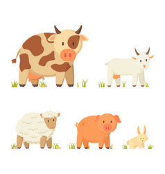 farm and domestic animal cartoon set vector image