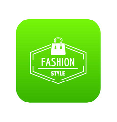 fashion style bag icon green vector image