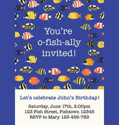 fish party invitation card template vector image
