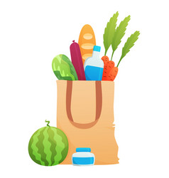 fresh food in a paper bag - in vector image