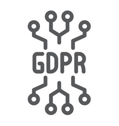 gdpr circuit line icon personal and privacy chip vector image