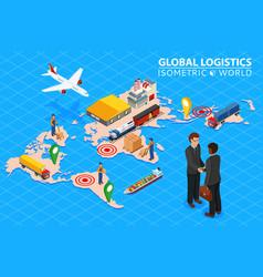 Global logistics network flat 3d isometric vector